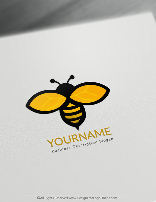 Instantly customize a golden Minimalist Bee logo