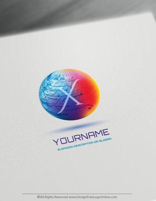 Digital 3D Logo Of Technology