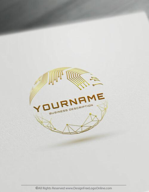 Golden Digital network Tech logotype maker