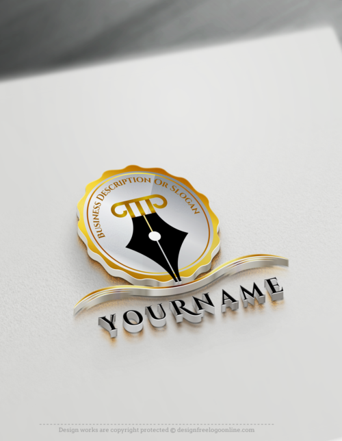 Luxury Gold Notary Quill Pen Logo Maker