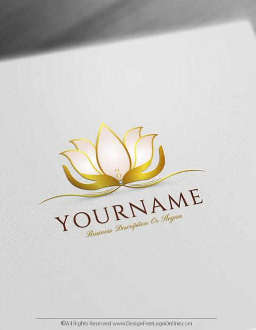 Golden Luxury Lotus Logo Maker