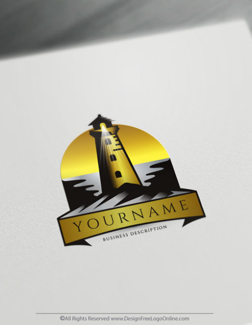 gold vintage lighthouse logo maker