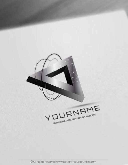 3D Silver Triangular Logo Of Technology