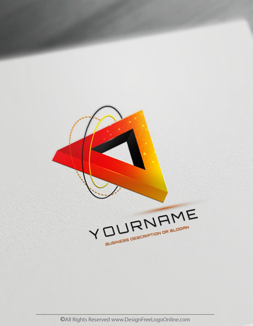 3D Red Triangular Icon Of Technology