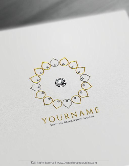 Golden Geometric Diamond Flower Logo Maker