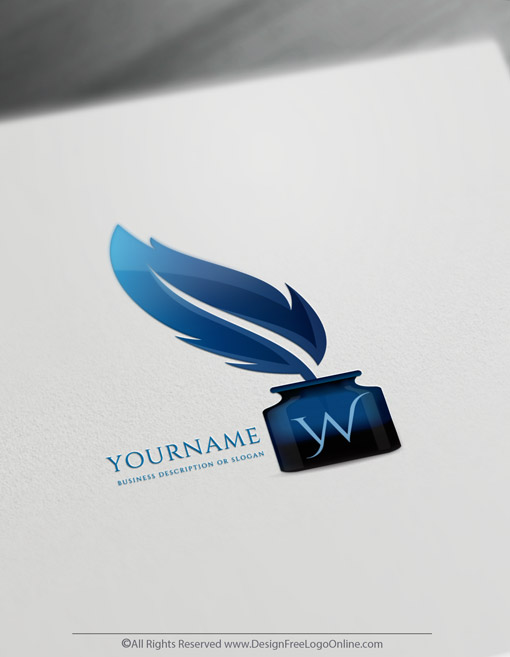 Blue quill pen logotype maker