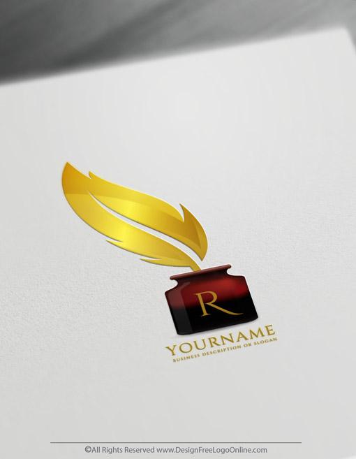 Elegant golden quill writer logo maker