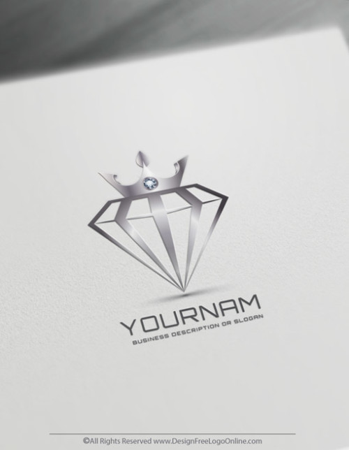 Use the free online logo maker and download your jewelry Crown On Diamond logo