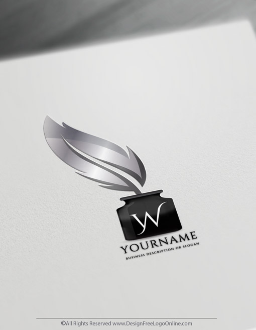 Elegant Silver feather pen quill logotype