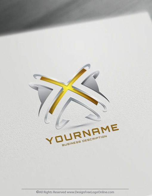 Gold 3D logotype with X letter