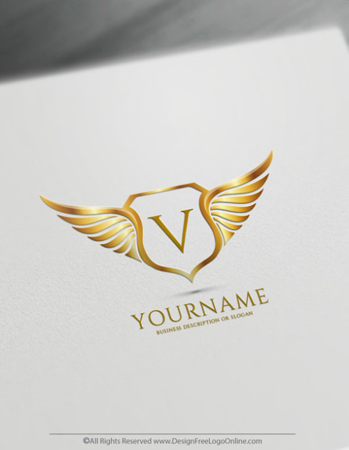 Golden wings crest logo maker