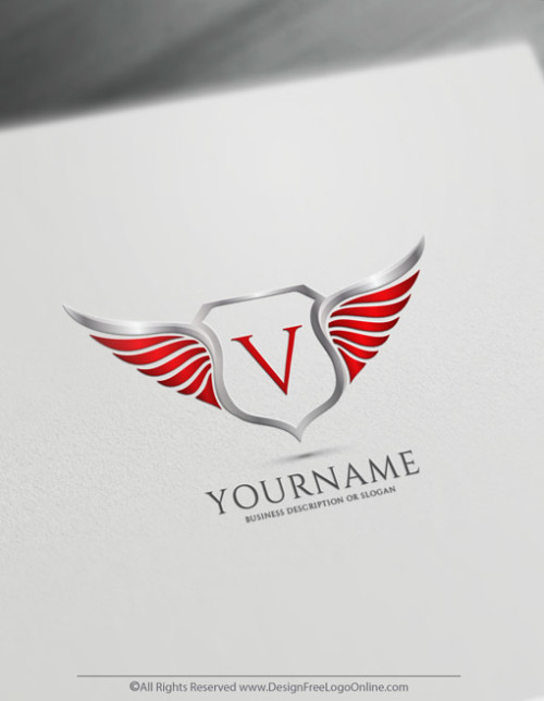 Red shield with wings logo design maker