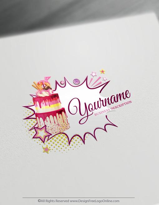 colorful strawberry banana cakes logo image