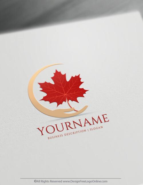 sugar red maple leaf logo maker