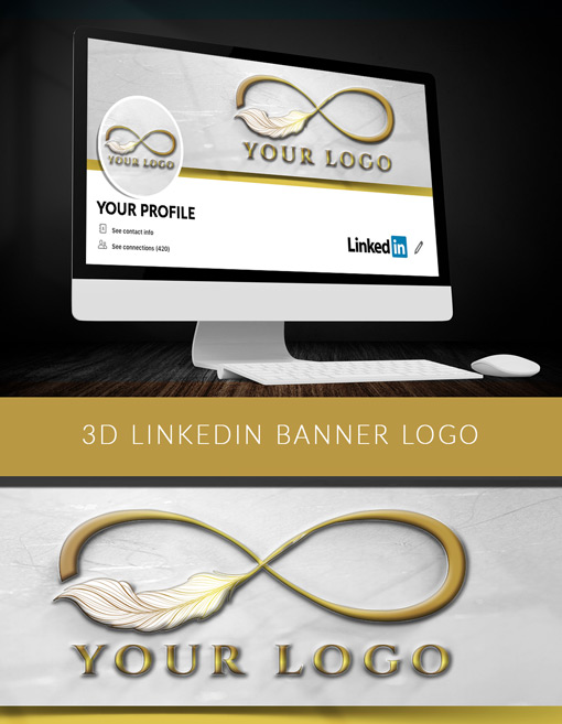 3D LinkedIn Banner Logo Maker