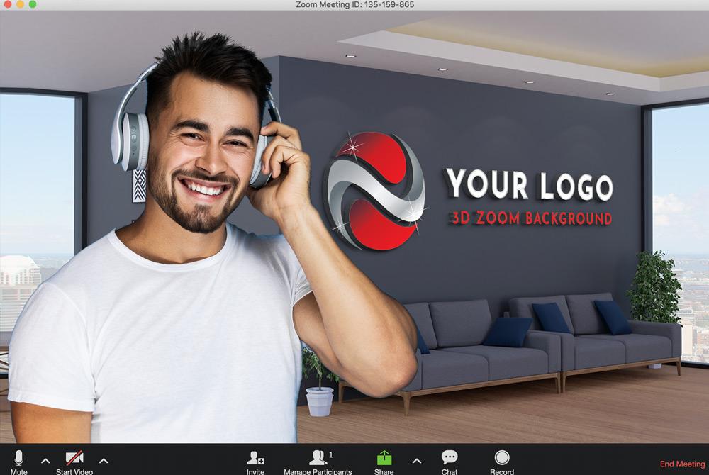 3D Logo Zoom Virtual Background Mockup