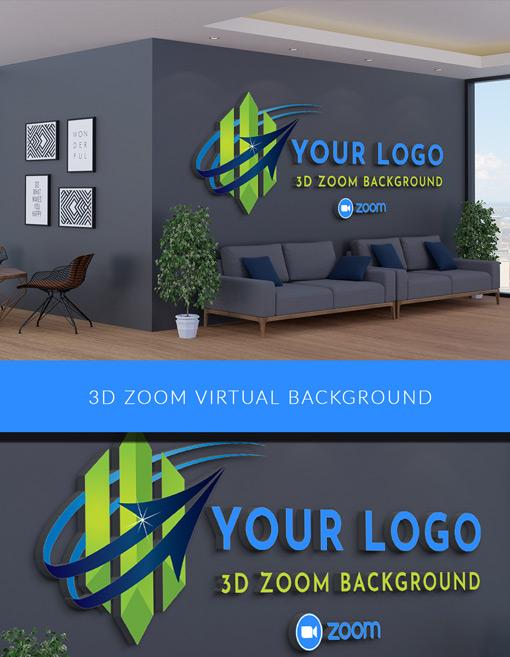 3D Zoom Background Logo - 3D Virtual Office Logo Mockup