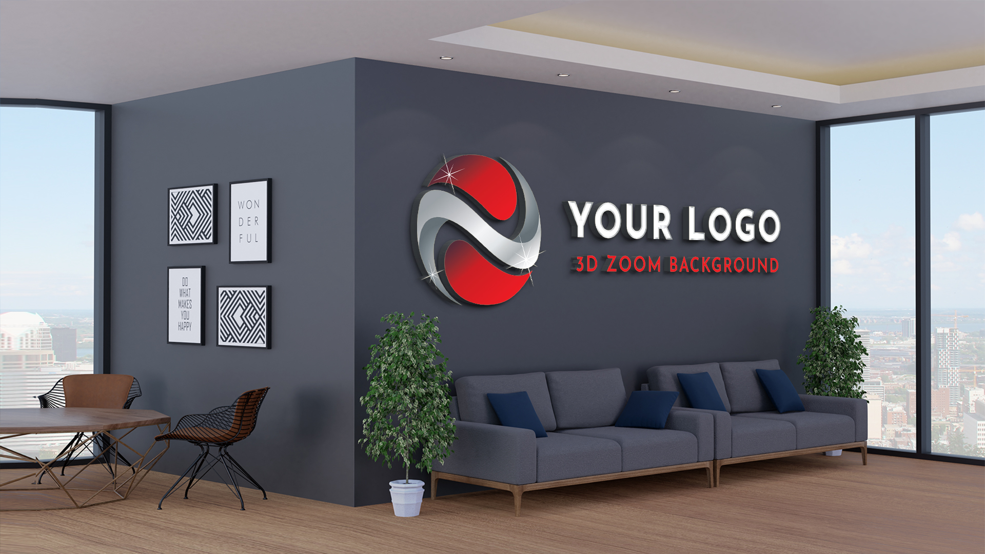 3D zoom background logo