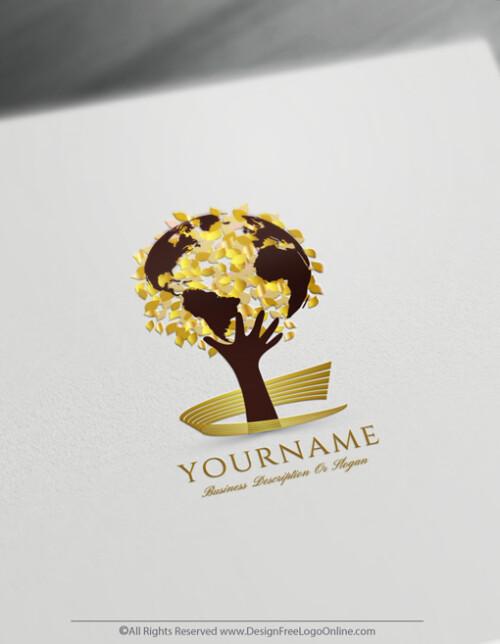 Golden global growing tree logo