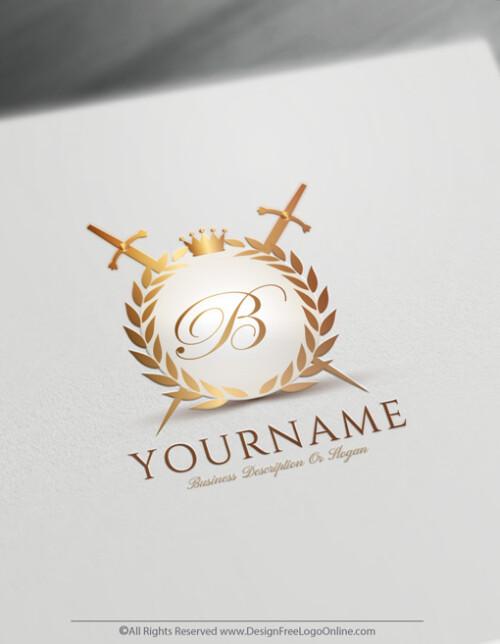 Golden Crest Sword Logo Design Maker