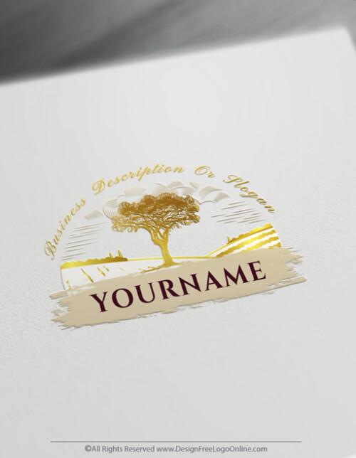 golden tree landscape logo