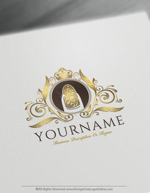 Golden luxury nails logo maker