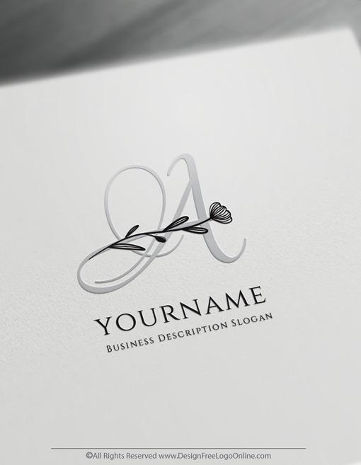 minimal letter logo maker with flowers