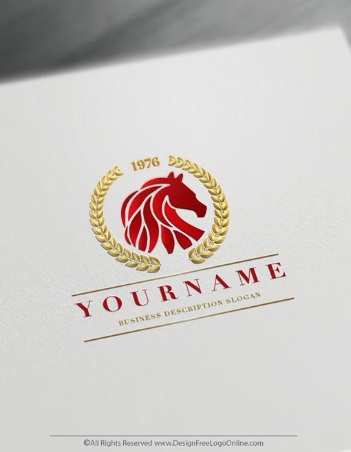Golden red luxury horses symbol creator