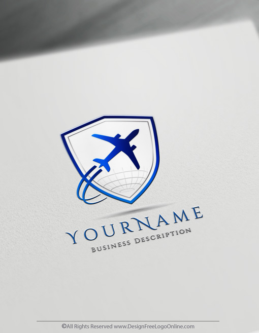 classic aviation logo with a shield