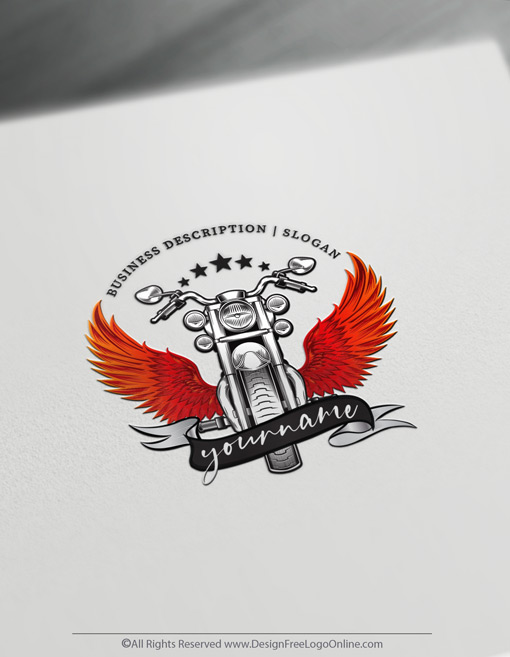 Online Retro Motorcycle Logo With Wings