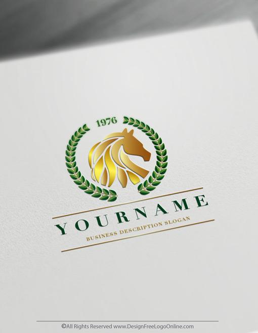 green luxury horse logo maker