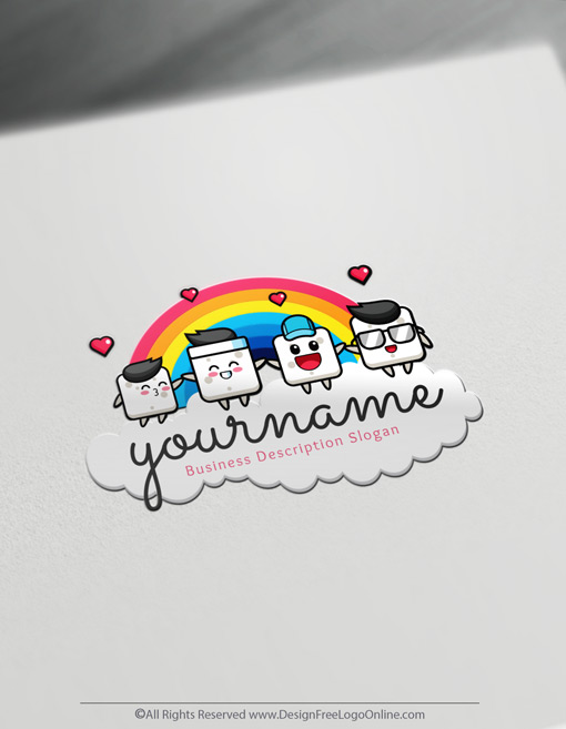 Design a cool logo with a children's symbol on a rainbow