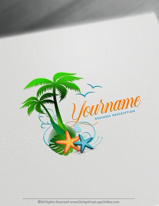 beach star sea logos with palm trees