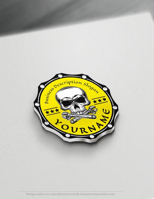 Online Vintage Skull Motor Logo Design