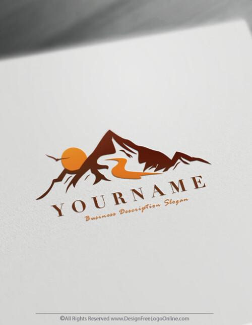 Minimalist Landscaping Mountains Logo