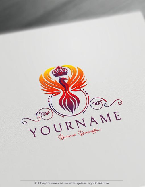 Luxurious phoenix logo maker